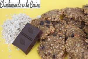 Galletas de avena, plátano y chocolate