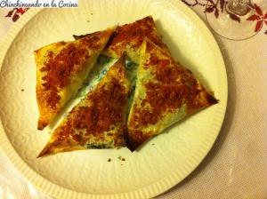 Triángulos de verduras y sal de jamón