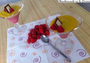 Panna cotta de frambuesas con mango